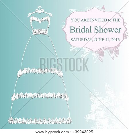 vector illustration of the pretty wedding dress