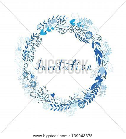 Doodle line trendy and ceremony of Wedding invitation