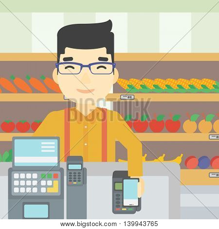 An asian young man paying wireless with his smartphone at the supermarket checkout . Male customer making payment for purchase with smartphone. Vector flat design illustration. Square layout.