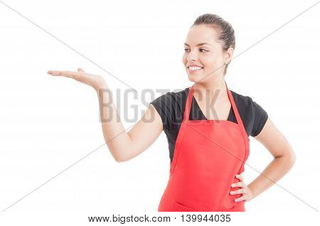 Attractive Employee Showing Shomething On Her Palm