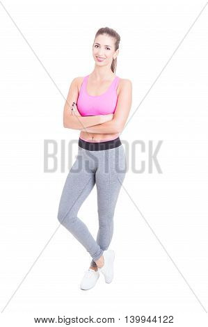 Full Body Of Woman Fitness Or Aerobic  Instructor