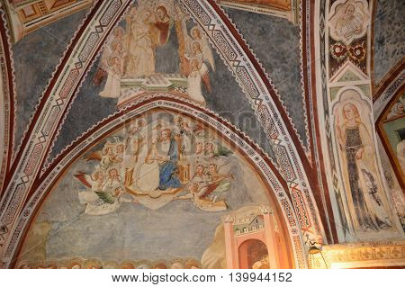 July 17, 2016-Monastery of the Benedictines of Subiaco in the Lazio-Italy-architecture, church ornaments, paintings and frescoes that tell the life of St. Benedict in the crypt of a Benedictine monastery