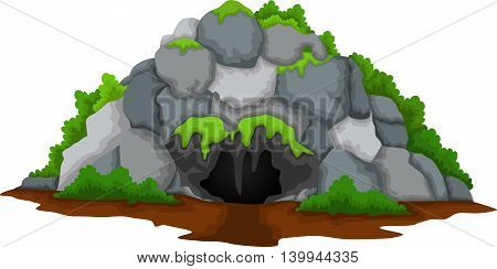 cute ave cartoon with forest landscape background
