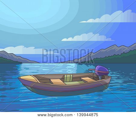 Moonlight Night landscape lake and fishing boat. Vector Illustration.