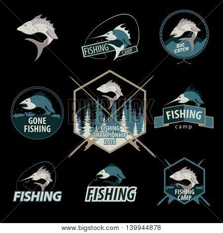 Set of fishing logos, emblems, badges and design elements. Vector Illustration.