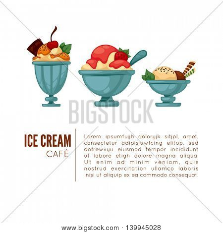 Colorful tasty ice cream. Ice cream cafe poster or menu template. Isolated on white. Vector illustration.
