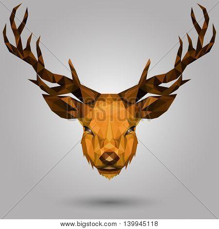 geometric deer head design on gray background