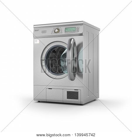 Isolated open Dryer machine on a white background. 3d illustration