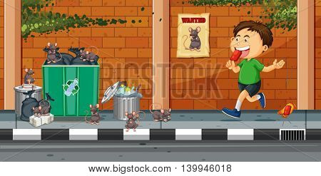 Boy throwing trash on the street illustration