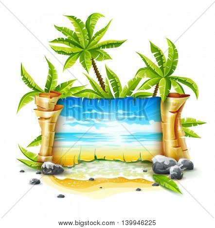 Travel banner with old parchment paper script and sea skyline waves clouds landscape paradise island resort tropical coconut palms on sand beach water breakers vector illustration isolated