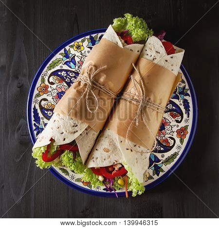 Vegetarian Tartilla Home With Tomatoes, Cabbage, Lettuce And Che