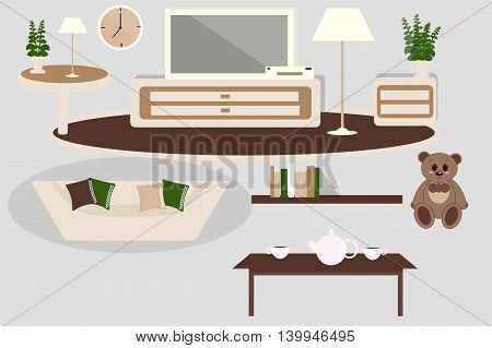 A set of furniture for interior living room white and brown color, vector illustration