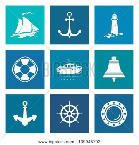 Set of Blue Marine Icons, Sailing Vessel and Anchor, Ship Wheel and Lifebuoy, Lifeboat and Porthole, Ship Bell and Lighthouse, Nautical Symbol, Ship Equipment, Vector Illustration