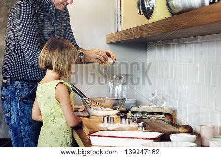 Father Daughter Preparation Baking Kitchen Concept