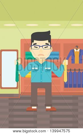 An asian upset man holding two neckties and trying to choose the best one. Customer choosing necktie at clothing store. Vector flat design illustration. Vertical layout.