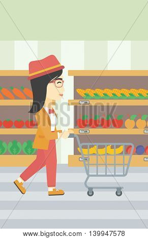 An asian young woman pushing empty supermarket cart. Woman shopping at supermarket with cart. Woman walking with trolley on aisle at supermarket. Vector flat design illustration. Vertical layout.