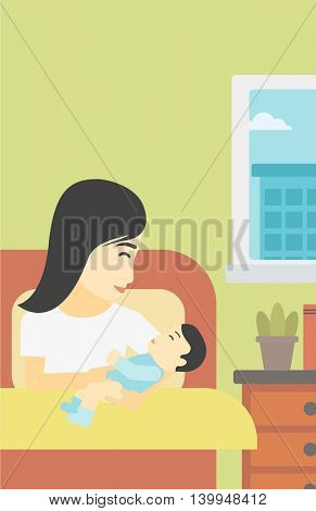 An asian mother holding newborn in maternity ward. Mother nursing baby. Mother and infant resting at hospital. Happy mother with newborn. Vector flat design illustration. Vertical layout.