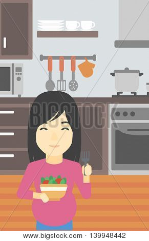 An asian young pregnant woman holding bowl with vegetables in kitchen. Concept of healthy nutrition during pregnancy. Vector flat design illustration. Vertical layout.