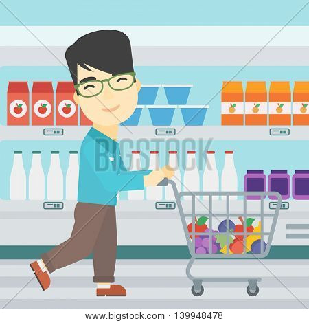 An asian young man pushing a supermarket cart with some goods in it. Customer shopping at supermarket with cart. Vector flat design illustration. Square layout.