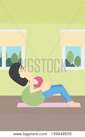 An asian pregnant woman doing exercises with ball indoor. Young pregnant woman doing exercises lying on fitball. Vector flat design illustration. Vertical layout.