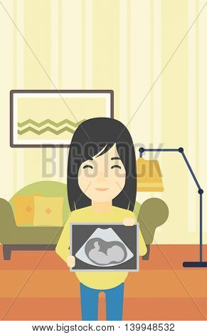 An asian pregnant woman standing with ultrasound image on the background of living room. Pregnant woman showing ultrasound photo. Vector flat design illustration. Vertical layout.