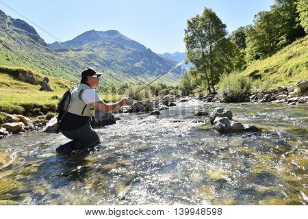 Flyfisherman fishing in mountain river