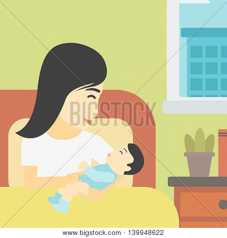 An asian mother holding newborn in maternity ward. Mother nursing baby. Mother and infant resting at hospital. Happy mother with newborn. Vector flat design illustration. Square layout.