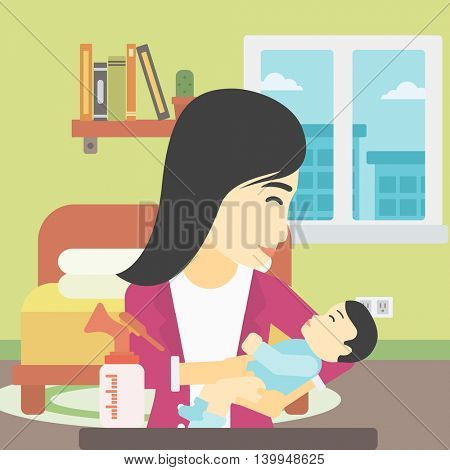 An asian mother holding a newborn baby in hands and a breast pump standing on the table in front of her. Young mother feeding her baby. Vector flat design illustration. Square layout.