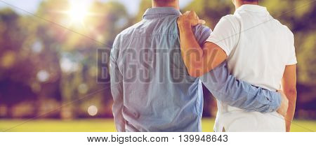 people, homosexuality, same-sex marriage, gay and love concept - close up of happy male gay couple o