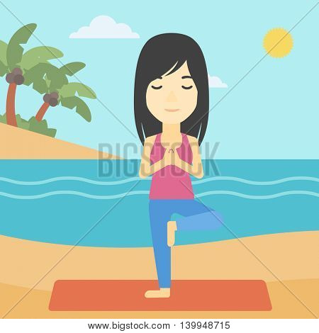 An asian young woman standing in yoga tree position. Woman meditating in yoga tree position on the beach. Man doing yoga on nature. Vector flat design illustration. Square layout.
