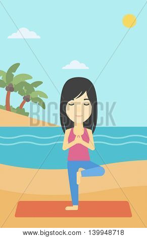 An asian young woman standing in yoga tree position. Woman meditating in yoga tree position on the beach. Man doing yoga on nature. Vector flat design illustration. Vertical layout.