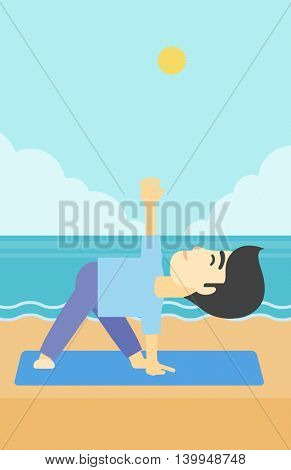 An asian young man standing in yoga triangle pose. Man meditating in yoga triangle position on the beach. Man doing yoga on nature. Vector flat design illustration. Vertical layout.