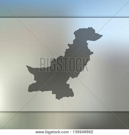 Pakistan map on blurred background. Blurred background with silhouette of Pakistan. Pakistan. Pakistan map. Blurred background. Pakistan vector map.