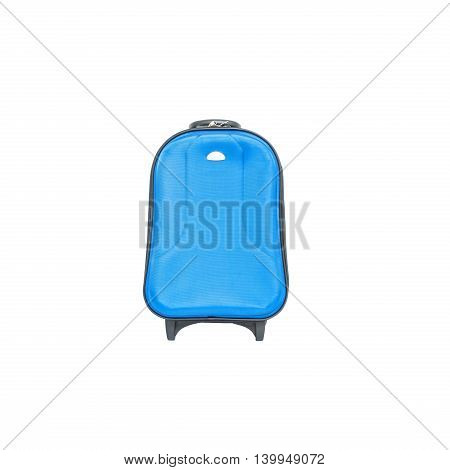 Closeup blue luggage isolated on white background fabric luggage with plastic roller for travel