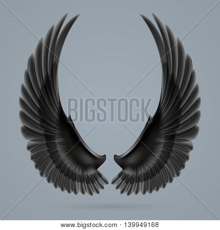Inspiring black wings drawn separately on a gray background