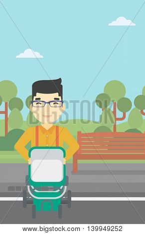 An asian young father walking with baby stroller in the park. Father walking with his baby in stroller. Father pushing baby stroller. Vector flat design illustration. Vertical layout.