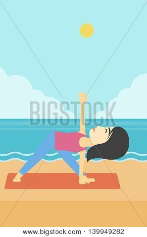 An asian young woman standing in yoga triangle position. Woman meditating in yoga triangle position on the beach. Woman doing yoga on nature. Vector flat design illustration. Vertical layout.