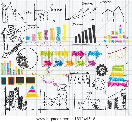 Set of sketch business materials for presentation