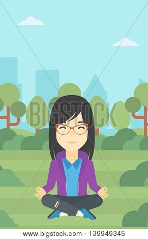 An asian young business woman meditating in yoga lotus position outdoor. Business woman relaxing in the park in the lotus position. Vector flat design illustration. Vertical layout.