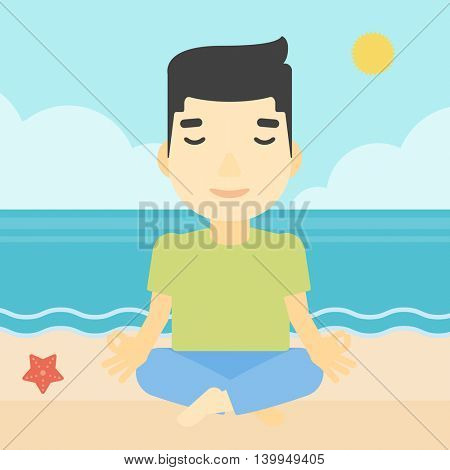 An asian young man meditating in yoga lotus pose on the beach. Man relaxing on the beach in the yoga lotus position. Vector flat design illustration. Square layout.