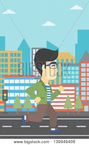 An asian young man running. Male runner jogging. Full length of a male athlete running. Sportsman running on a city background. Vector flat design illustration. Vertical layout.