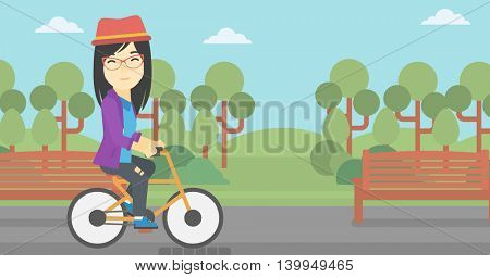 An asian young woman riding a bicycle in park. Cyclist riding bike on forest road. Woman on bike outdoors. Healthy lifestyle concept. Vector flat design illustration. Horizontal layout
