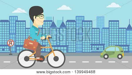 An asian young man riding a bicycle. Cyclist riding bike on city background. Businessman with briefcase on a bike. Healthy lifestyle concept. Vector flat design illustration. Horizontal layout