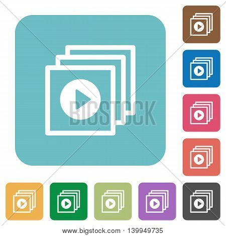 Flat play files icons on rounded square color backgrounds.