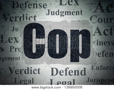 Law concept: Painted black text Cop on Digital Data Paper background with   Tag Cloud