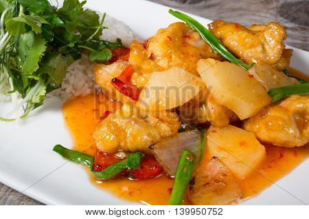 Chinese pork with pineapple served with rice