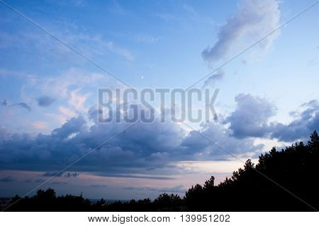 blue sky, the moon, beautiful clouds Sunset