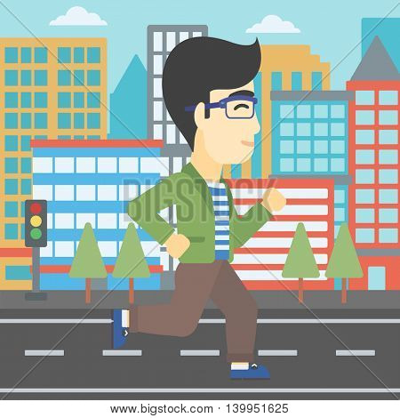 An asian young man running. Male runner jogging. Full length of a male athlete running. Sportsman running on a city background. Vector flat design illustration. Square layout.