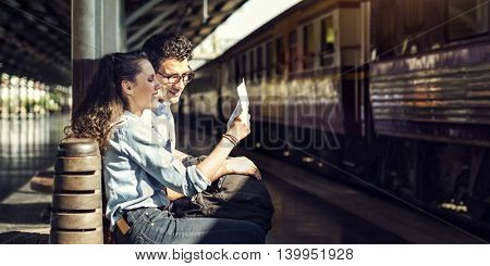 Couple Bench Train Station Happy Concept