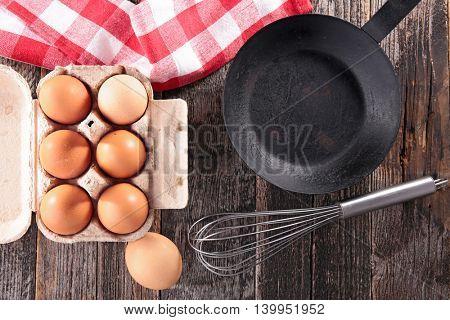 raw egg and pan